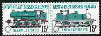 Cinderella - Great Britain Kent & East Sussex Railway Letter Stamps 15p se-tenant perf pair unmounted mint