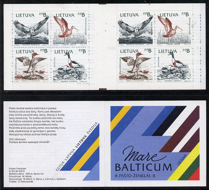 Booklet - Lithuania 1992 Birds of the Baltic booklet complete and very fine containing two se-tenant blocks of 4 (2 sets)