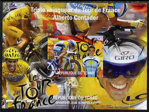 Chad 2010 Tour de France Cycle Race imperf s/sheet unmounted mint. Note this item is privately produced and is offered purely on its thematic appeal