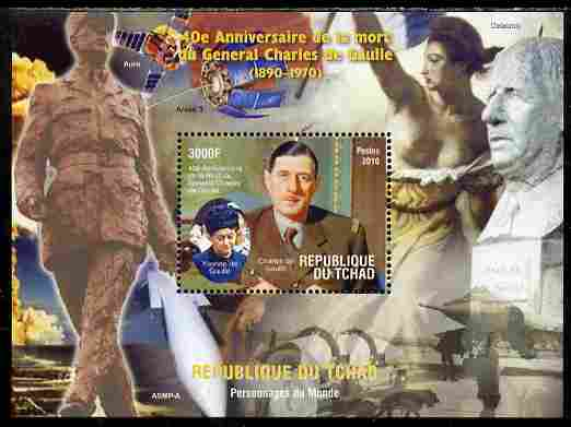 Chad 2010 40th Death Anniversary of Charles De Gaulle perf s/sheet unmounted mint. Note this item is privately produced and is offered purely on its thematic appeal
