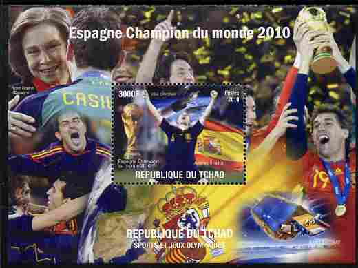 Chad 2010 Football World Cup - Spain world Champions perf s/sheet unmounted mint. Note this item is privately produced and is offered purely on its thematic appeal