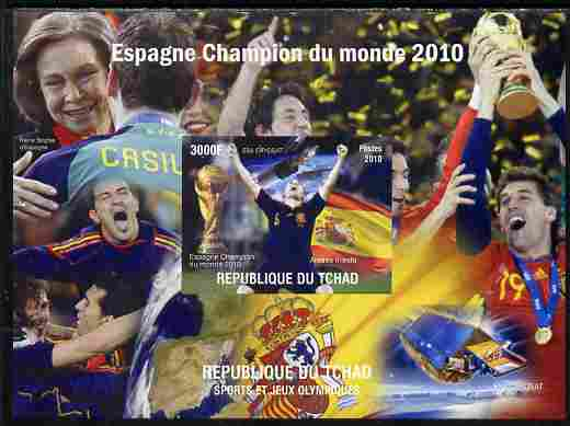 Chad 2010 Football World Cup - Spain world Champions imperf s/sheet unmounted mint. Note this item is privately produced and is offered purely on its thematic appeal