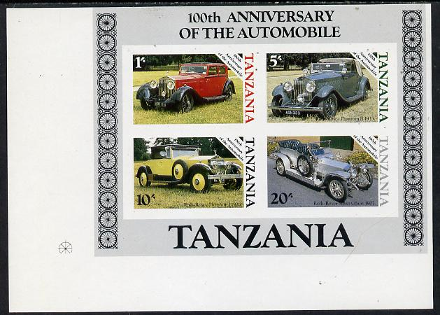 Tanzania 1986 Centenary of Motoring m/sheet imperf proof essay similar in both design & colours of issued sheet but 1s50 value is expressed as 1s & 30s is shown as 20s, on ungummed art paper