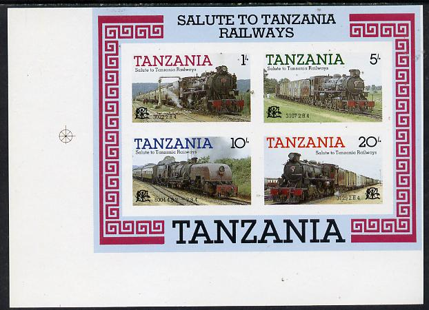 Tanzania 1985 Locomotives imperf proof essay for m/sheet similar in both design & colours of issued sheet but each stamp incorporates the Tanzanian Coat of Arms, the values are 1s, 5s, 10s & 20s and the sheet is inscribed 'Salute to Tanzanian Railways', on ungummed art paper