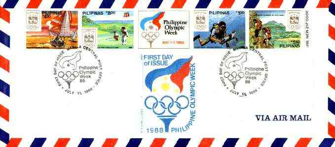 Philippines 1988 Seoul Olympic Games imperf se-tenant strip of 4 plus label on airmail cover used on first day with special cancel (SG 2091aB)