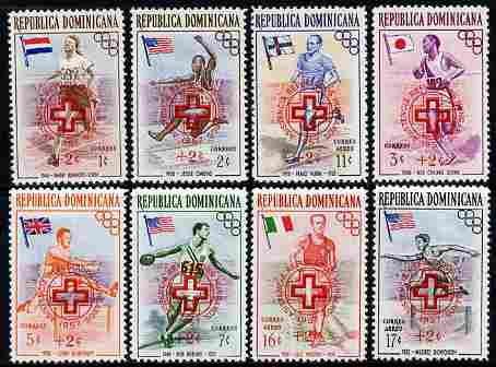 Dominican Republic 1957 Hungarian Refugee Fund overprint on Olympic Games (1st Issue) set of 8 unmounted mint, SG 678-86
