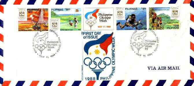 Philippines 1988 Seoul Olympic Games perf se-tenant strip of 4 plus label on airmail cover used on first day with special cancel (SG 2091aA)