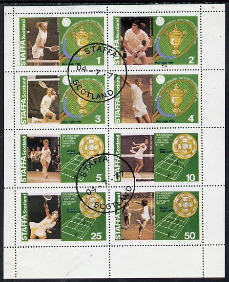 Staffa 1977 Tennis (Wimbledon 100th Anniversary) perf set of 8 cto used (Rod Laver, Stan Smith, Ann Jones, Yvonne G, etc)