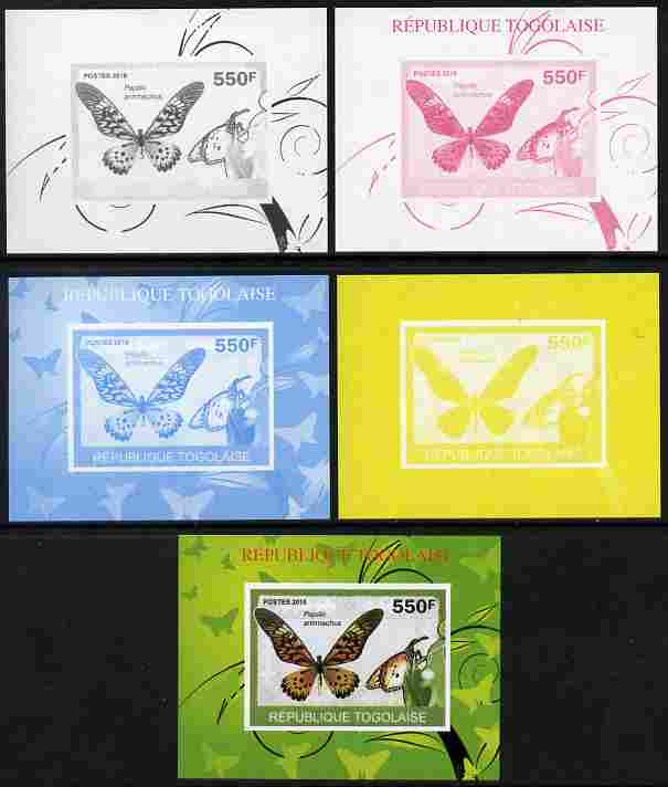 Togo 2010 Butterflies #4 individual deluxe sheet - the set of 5 imperf progressive proofs comprising the 4 individual colours plus all 4-colour composite, unmounted mint