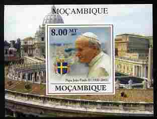 Mozambique 2009 Pope John Paul II #2 individual imperf deluxe sheetlet unmounted mint. Note this item is privately produced and is offered purely on its thematic appeal