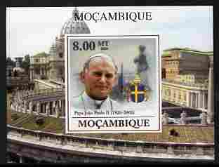 Mozambique 2009 Pope John Paul II #3 individual imperf deluxe sheetlet unmounted mint. Note this item is privately produced and is offered purely on its thematic appeal