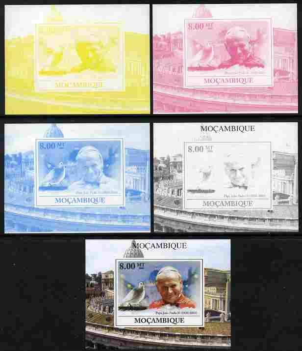 Mozambique 2009 Pope John Paul II #4 individual deluxe sheet - the set of 5 imperf progressive proofs comprising the 4 individual colours plus all 4-colour composite, unmounted mint