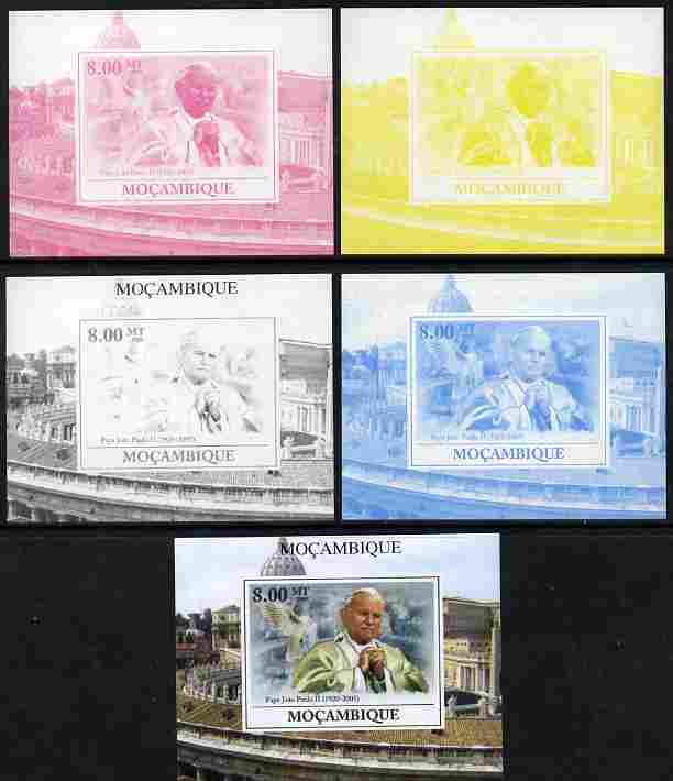 Mozambique 2009 Pope John Paul II #5 individual deluxe sheet - the set of 5 imperf progressive proofs comprising the 4 individual colours plus all 4-colour composite, unmounted mint