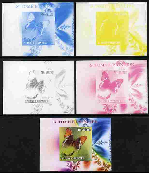 St Thomas & Prince Islands 2009 Butterflies & Catterpillars #1 individual deluxe sheet - the set of 5 imperf progressive proofs comprising the 4 individual colours plus all 4-colour composite, unmounted mint