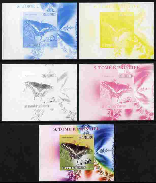 St Thomas & Prince Islands 2009 Butterflies & Catterpillars #2 individual deluxe sheet - the set of 5 imperf progressive proofs comprising the 4 individual colours plus all 4-colour composite, unmounted mint