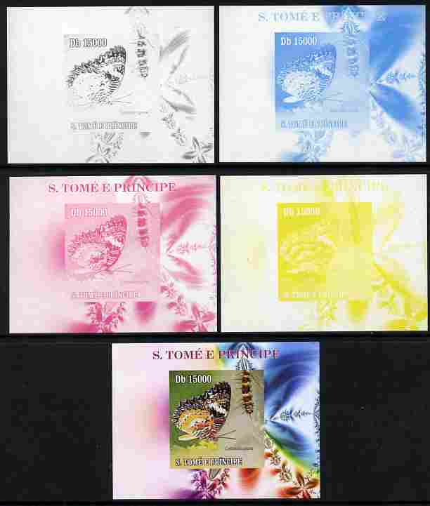 St Thomas & Prince Islands 2009 Butterflies & Catterpillars #3 individual deluxe sheet - the set of 5 imperf progressive proofs comprising the 4 individual colours plus all 4-colour composite, unmounted mint