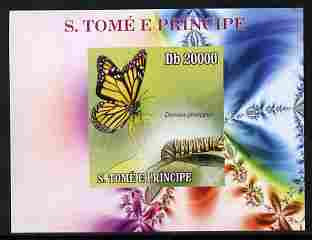 St Thomas & Prince Islands 2009 Butterflies & Catterpillars #4 individual imperf deluxe sheetlet unmounted mint. Note this item is privately produced and is offered purely on its thematic appeal