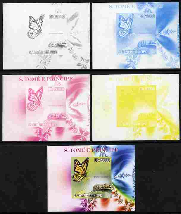 St Thomas & Prince Islands 2009 Butterflies & Catterpillars #4 individual deluxe sheet - the set of 5 imperf progressive proofs comprising the 4 individual colours plus all 4-colour composite, unmounted mint