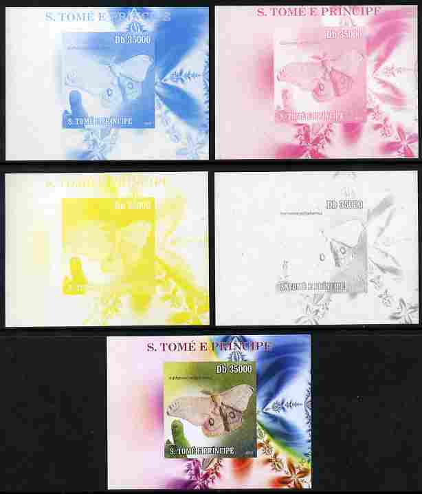 St Thomas & Prince Islands 2009 Butterflies & Catterpillars #5 individual deluxe sheet - the set of 5 imperf progressive proofs comprising the 4 individual colours plus all 4-colour composite, unmounted mint
