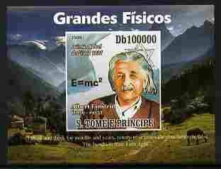 St Thomas & Prince Islands 2009 Albert Einstein #2 individual imperf deluxe sheetlet unmounted mint. Note this item is privately produced and is offered purely on its the...