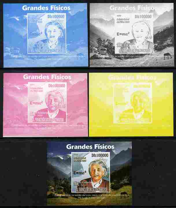 St Thomas & Prince Islands 2009 Albert Einstein #2 individual deluxe sheet - the set of 5 imperf progressive proofs comprising the 4 individual colours plus all 4-colour composite, unmounted mint, stamps on personalities, stamps on einstein, stamps on science, stamps on physics, stamps on nobel, stamps on maths, stamps on space, stamps on judaica, stamps on atomics, stamps on mathematics, stamps on judaism