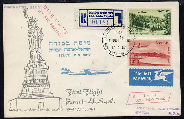 Israel 1957 Air France first flight reg cover to USA bearing Air stamps, various backstamps (illustrated with Statue of Liberty) Flight AF 135/071