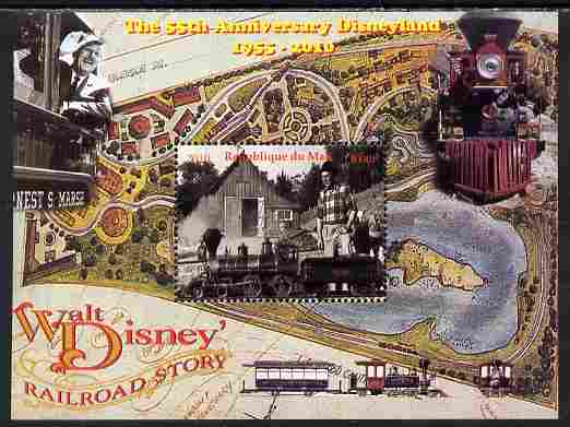 Mali 2010 The 55th Anniversary of Disneyland - Walt Disney's Railroad Story #01 perf s/sheet unmounted mint. Note this item is privately produced and is offered purely on its thematic appeal