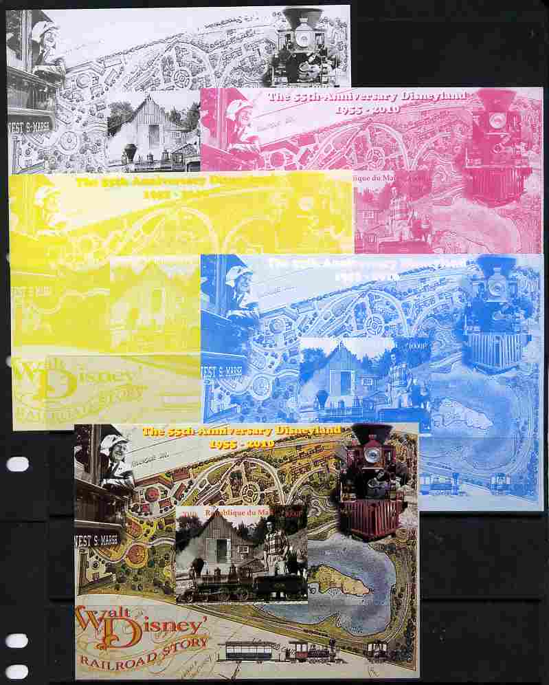 Mali 2010 The 55th Anniversary of Disneyland - Walt Disney's Railroad Story #01 s/sheet - the set of 5 imperf progressive proofs comprising the 4 individual colours plus all 4-colour composite, unmounted mint