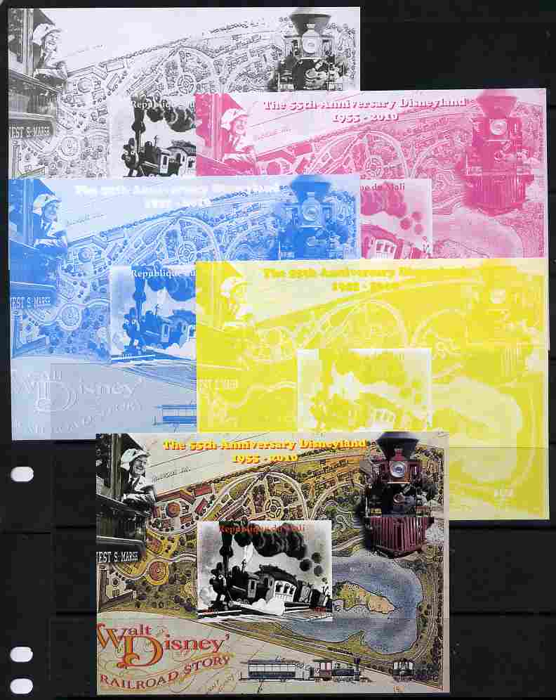 Mali 2010 The 55th Anniversary of Disneyland - Walt Disney's Railroad Story #02 s/sheet - the set of 5 imperf progressive proofs comprising the 4 individual colours plus all 4-colour composite, unmounted mint