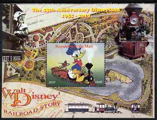 Mali 2010 The 55th Anniversary of Disneyland - Walt Disney's Railroad Story #03 perf s/sheet unmounted mint. Note this item is privately produced and is offered purely on its thematic appeal