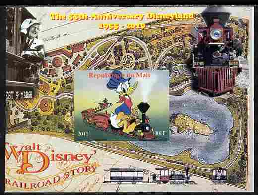 Mali 2010 The 55th Anniversary of Disneyland - Walt Disney's Railroad Story #03 imperf s/sheet unmounted mint. Note this item is privately produced and is offered purely on its thematic appeal