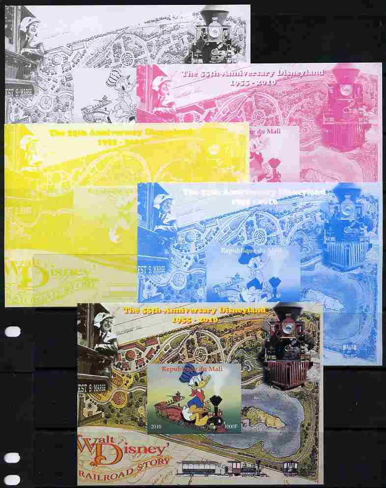 Mali 2010 The 55th Anniversary of Disneyland - Walt Disney's Railroad Story #03 s/sheet - the set of 5 imperf progressive proofs comprising the 4 individual colours plus all 4-colour composite, unmounted mint