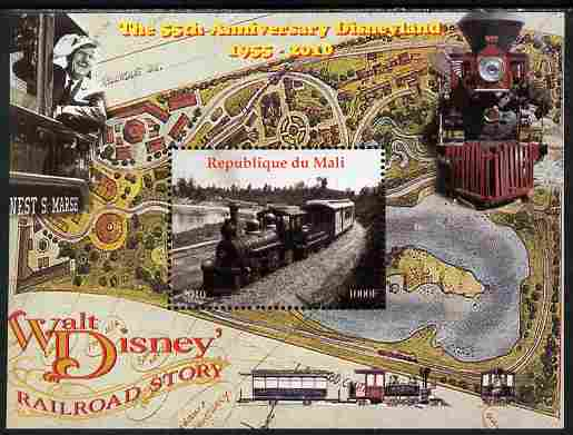 Mali 2010 The 55th Anniversary of Disneyland - Walt Disney's Railroad Story #04 perf s/sheet unmounted mint. Note this item is privately produced and is offered purely on its thematic appeal