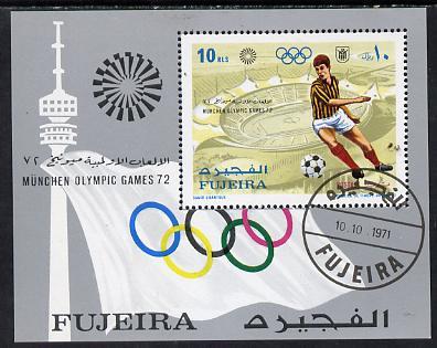 Fujeira 1971 Munich Olympics perf m/sheet (Football) cto used, Mi BL 71A