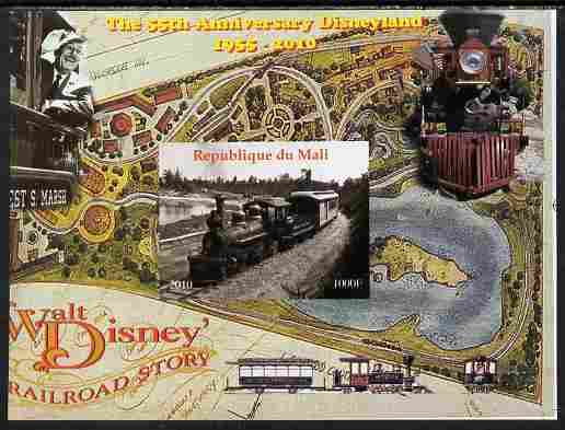 Mali 2010 The 55th Anniversary of Disneyland - Walt Disney's Railroad Story #04 imperf s/sheet unmounted mint. Note this item is privately produced and is offered purely on its thematic appeal
