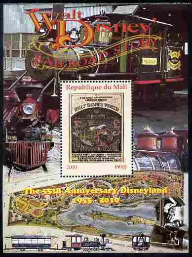 Mali 2010 The 55th Anniversary of Disneyland - Walt Disney's Railroad Story #06 perf s/sheet unmounted mint. Note this item is privately produced and is offered purely on its thematic appeal