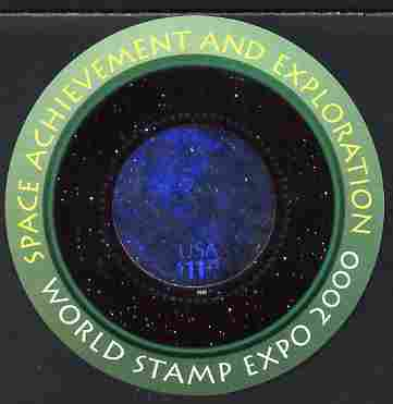 United States 2000 World Expo 2000 Stamp Exhibition imperf m/sheet (Circular hologram) unmounted mint SG MS 3832e