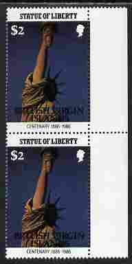 British Virgin Islands 1986 Statue of Liberty Centenary $2 similar to m/sheet but from the unique multi-country sheet intended for a special first day cover but never iss...