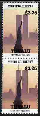 Tuvalu 1986 Statue of Liberty Centenary $3.25 similar to m/sheet but from the unique multi-country sheet intended for a special first day cover but never issued, unmounted mint in a vertical pair to authenticate its source