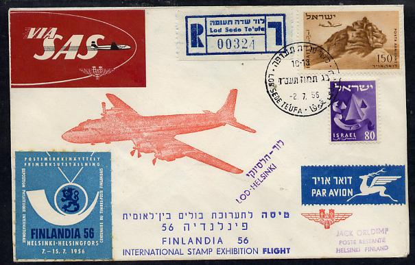 Israel 1956 Special SAS flight reg illustrated cover to Finland for Filandia '56 Stamp Exhibition, bearing Air stamp (Plane over Lion Rock) various backstamps