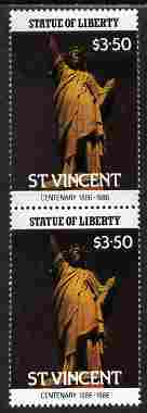 St Vincent 1986 Statue of Liberty Centenary $3.50 similar to m/sheet but from the unique multi-country sheet intended for a special first day cover but never issued, unmounted mint in a vertical pair to authenticate its source