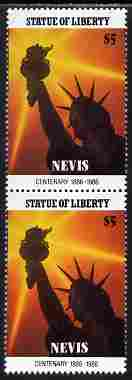 Nevis 1986 Statue of Liberty Centenary $5 similar to m/sheet but from the unique multi-country sheet intended for a special first day cover but never issued, unmounted mint in a vertical pair to authenticate its source