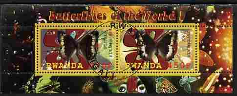 Rwanda 2010 Butterflies #1 perf sheetlet containing 2 values fine cto used