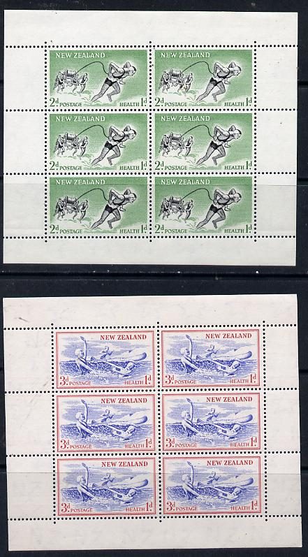 New Zealand 1957 Health - Life-savers & Children set of 2 m/sheets with upright wmk unmounted mint  MS 762c