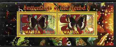 Rwanda 2010 Butterflies #1 perf sheetlet containing 2 values unmounted mint