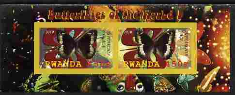 Rwanda 2010 Butterflies #1 imperf sheetlet containing 2 values unmounted mint