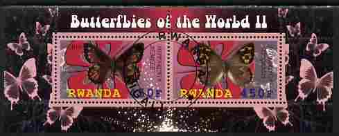 Rwanda 2010 Butterflies #2 perf sheetlet containing 2 values fine cto used