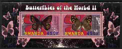Rwanda 2010 Butterflies #2 perf sheetlet containing 2 values unmounted mint