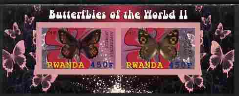 Rwanda 2010 Butterflies #2 imperf sheetlet containing 2 values unmounted mint