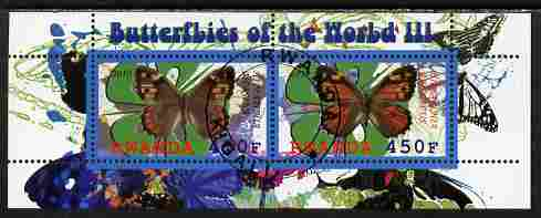 Rwanda 2010 Butterflies #3 perf sheetlet containing 2 values fine cto used